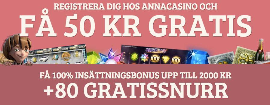 Anna Casino - 100% upp till 2000 kr + 10 freespins!