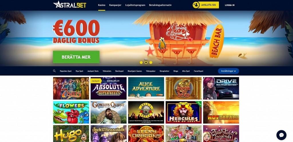 Spela med casino bonus hos AstralBet