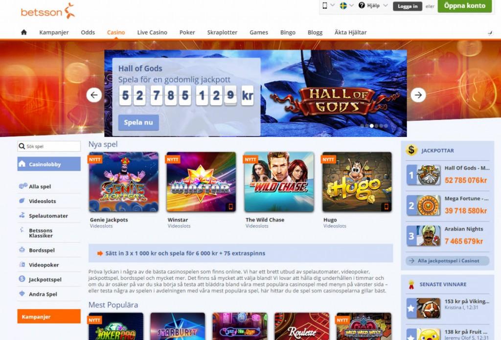 Spela odds, live spel och casino hos Betsson