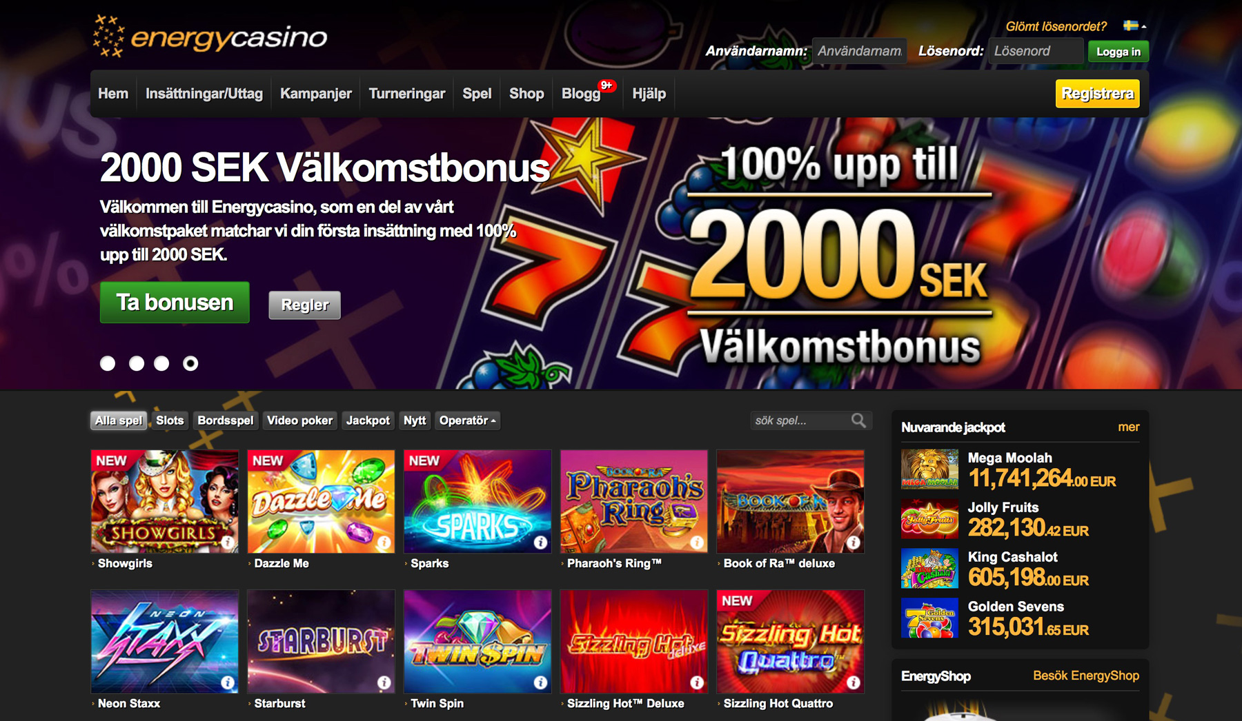 energy casino free spins 2019