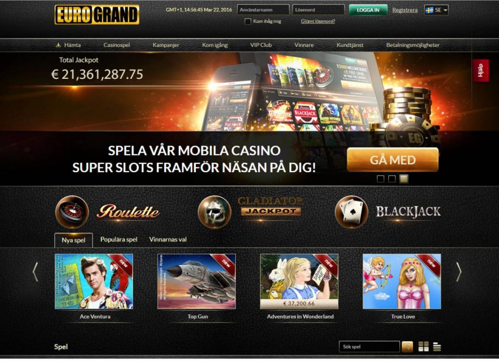 Spela på casino på nätet hos EuroGrand