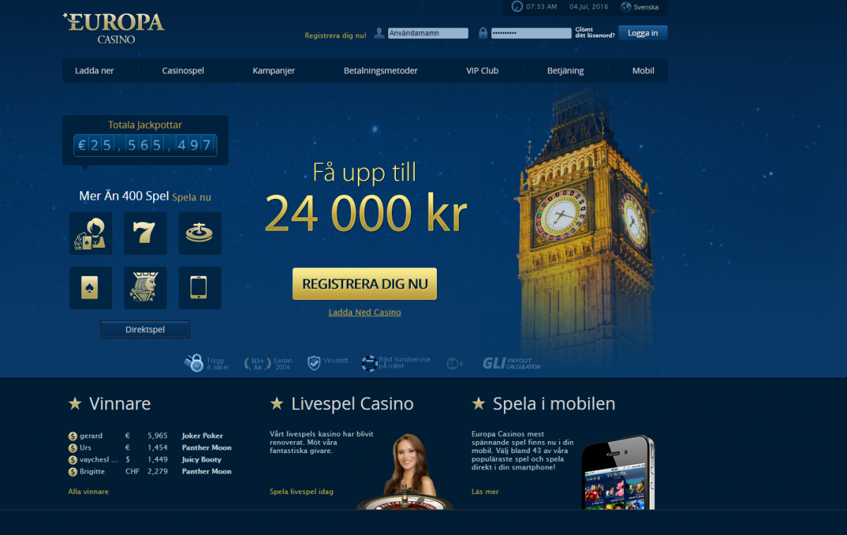 Europa Casino - FГҐ 25 free spins vid registrering!