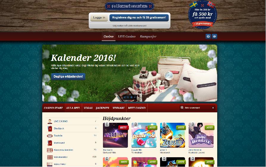 Svensk-norska online casinot Folkeautomaten har dagliga bonusar