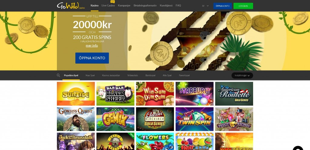 GoWild casino - 20.000 kronor + 200 free spins!