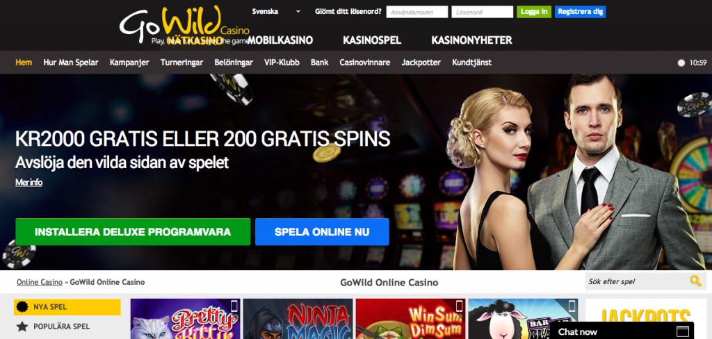 Spela spel på Go Wild casino