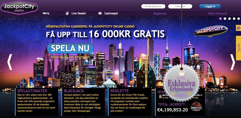 Jackpot City - Välkomstpaket upp till 16.000 kr!