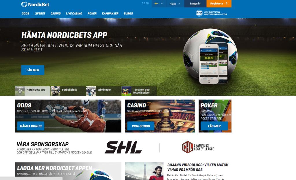 Spela odds och slots hos Nordic Bet