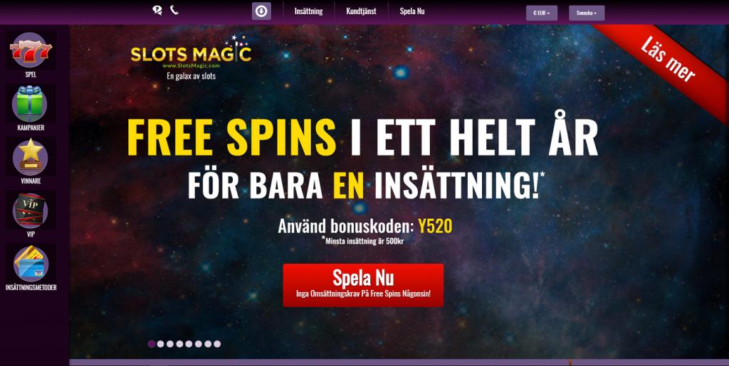 Spela med free spins i ett helt år med SlotsMagic