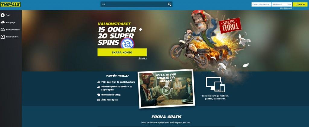 Thrills casino bonusar - 15 000 kr i bonus + 20 gratis snurr