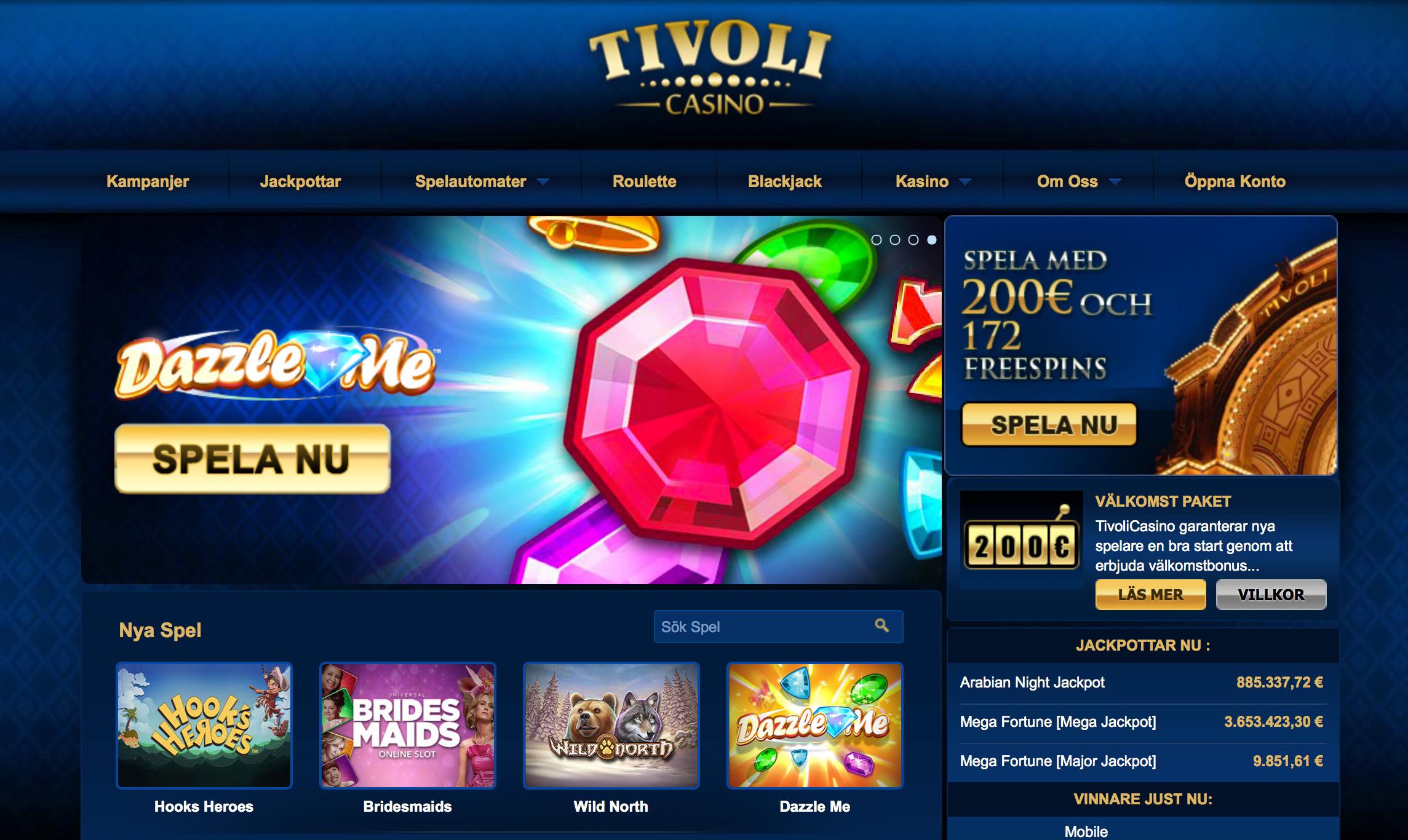 Tivoli Casino - 1000 kr + 72 free spins i bonus!