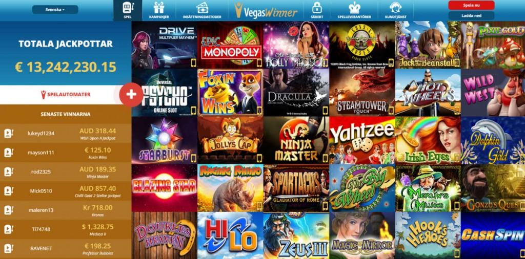 Spela casino bonusar med Vegas Winner