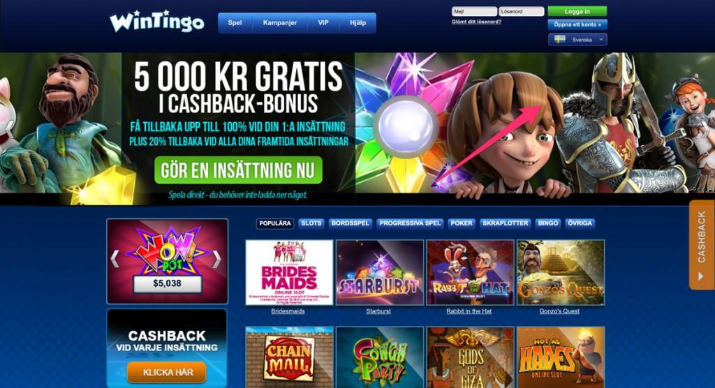 Wintingo erbjuder hundratals slots och casinospel online