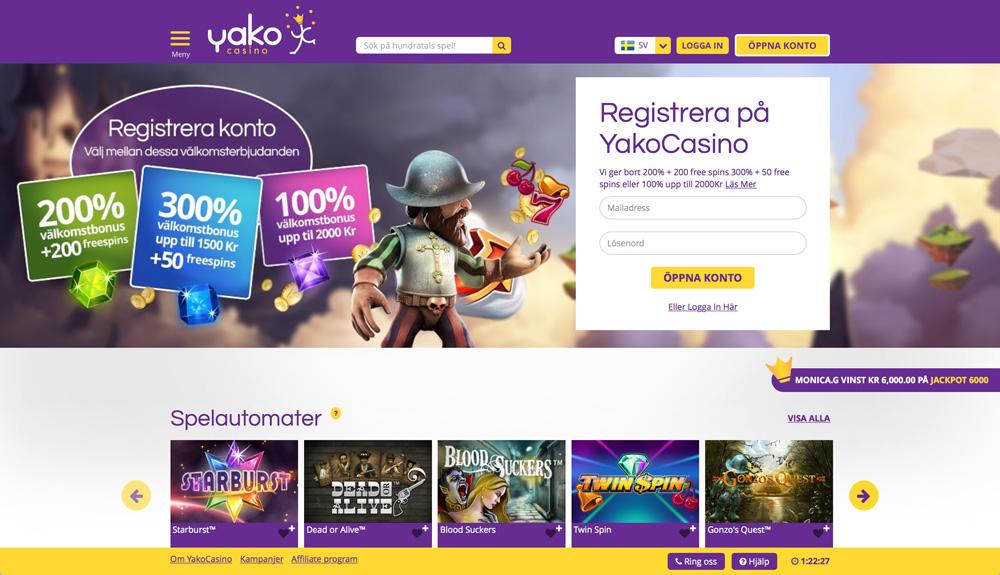 Spela på Yako casino på nätet med casino bonusar